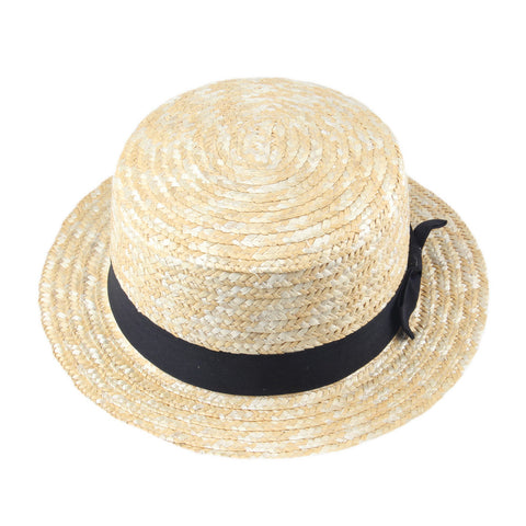 Beige Men Lady Boater Summer Beach Ribbon Round Flat Top Straw Fedora Panama Hat