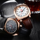 Hot Guote Rose Gold Dial Leather Sport Watches Water proof