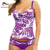 Tankini Push Up Two-piece Swimsuit Purple Floral Print Plus Size