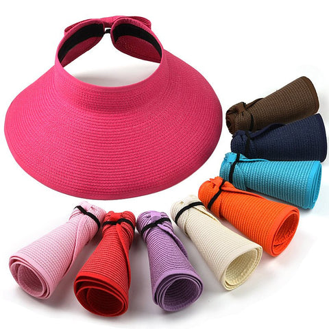 New Fashion Women Lady Foldable Roll Up Sun Beach Wide Brim Hat