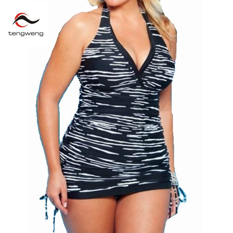 Plus Size Women Halter 2 Piece Tankini Striped Print