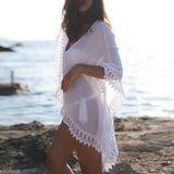 Chiffon Bikini Cover Up White Lace Crochet