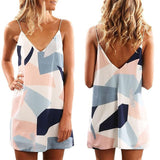Summer Dress V-Neck Spaghetti Strap  Sleeveless Printed