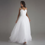 Spaghetti Strap Beach Wedding Dress