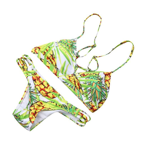 Print Bikini Push-Up Padded Bra Swimsuit Brazilian