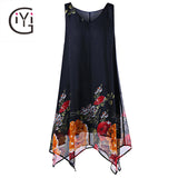 Plus Size 5XL Vintage Floral Print Boho Beach Chiffon Dress
