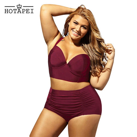 Hotapei  Seamed Bikini Top Ruched High Waist Bottom Plus size