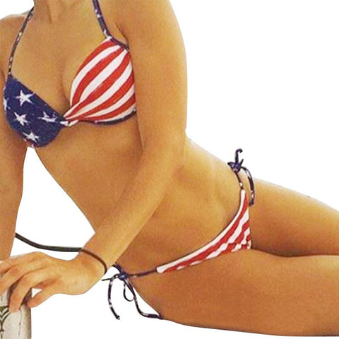 Unique Summer Sexy Women Stars Stripes USA Flag Bikini