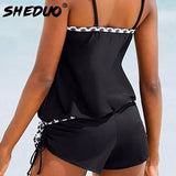 Narrow Strap Dots Bordered One-piece Swimsuit Loose Style