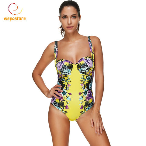 One Piece Plus Size Retro Floral Beach Wear