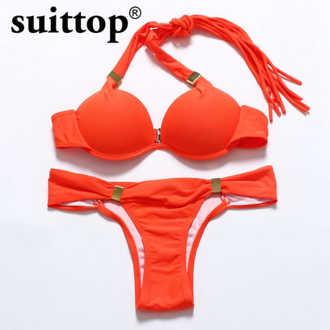 Solid Multi Color Push Up String Swimwear Underwire