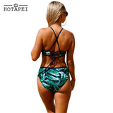 Bikini Set Floral Strappy High Neck swimsuit