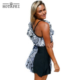 Plus Size Skirt Swimwear Monochrome Jungle one piece Swim Dress