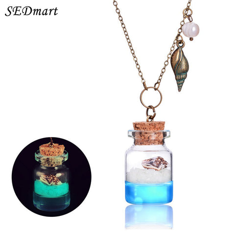 Glowing Sand Beach Ocean Wish Bottle Necklace