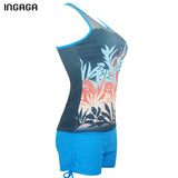 INGAGA Tankini Two-piece Swimsuit Mesh Padded Swim Wear