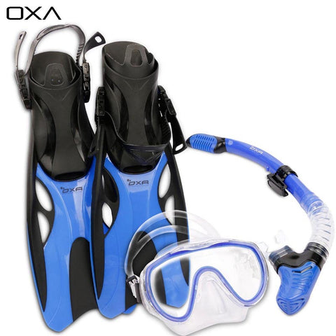 Adult Adjustable Scuba Diving Mask Snorkel Set Dive Fins