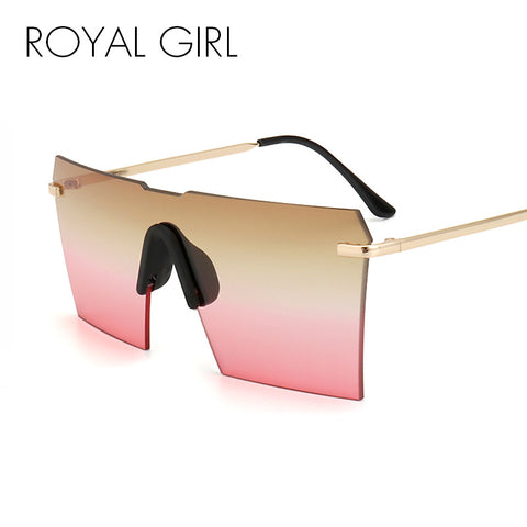 ROYAL GIRL Cool Luxury Brand Oversize Rimless Mirror Sun Glasses