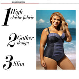 Plus size One Piece Swimsuits Black Sheer Lace Insert