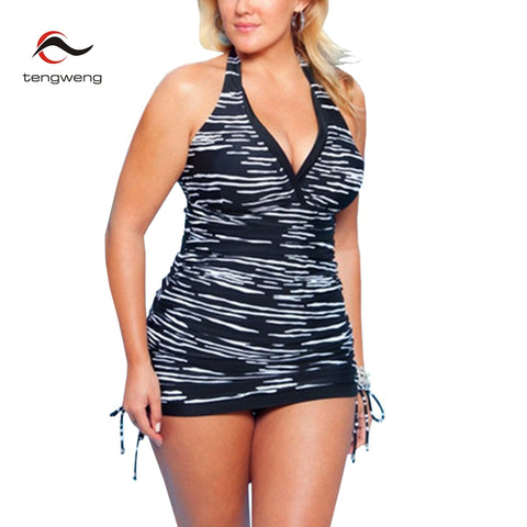 Halter 2 Piece Tankini Striped Print Swimwear