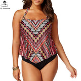 2018 Tankini Women Plus Size Vintage Geomatric Ethnic Swimdress