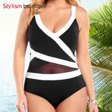 One Piece Plus Size Mesh Patchwork Beachwear Monokini