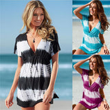Deep V Neck Bikini Cover up short sleeve mini sundress