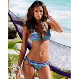 Halter Top Plaid Brazillian Bikini Set