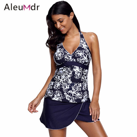 Plus Size Two Piece Print V-neck Tankini And Skirt Swimsuit