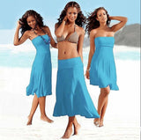 Multi-wearing swimming cover-ups off shoulder Beach Dress