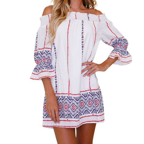 Womens Off Shoulder Geometric Printing Summer Mini Beach Dress
