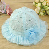 Kids Baby Newborn Sun Cap Outdoor Lace Floral Summer Beach Bucket Flower Hat