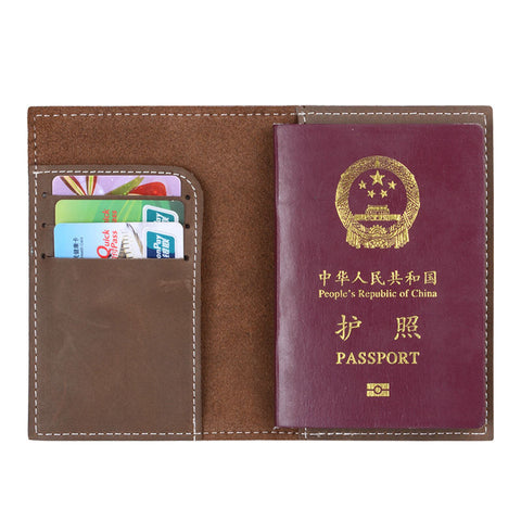 Genuine Leather Black Brown Passport Holder