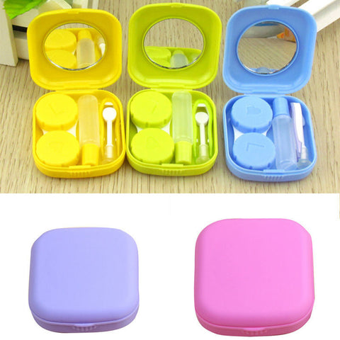 Portable Cute Pocket Mini Contact Lens Case Travel Kit Mirror Container 5Colors