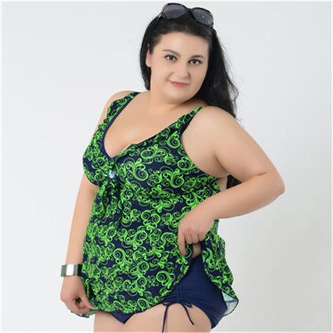 Women two pieces swimwear plus size tankini bodysuit