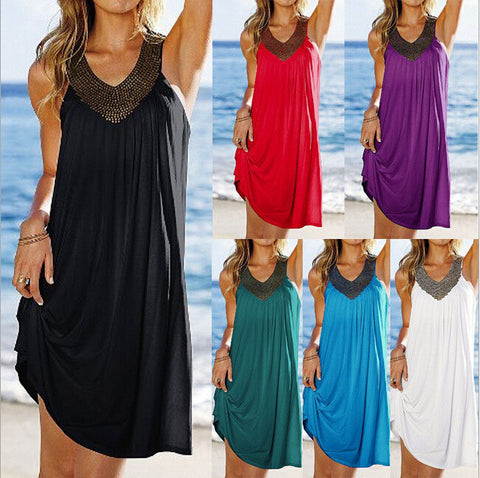 V neck hot drilling fold beach dress