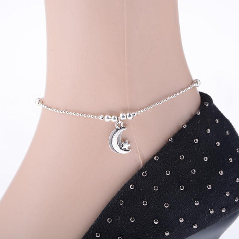 Silver Chain Anklets Moon Foot Chain