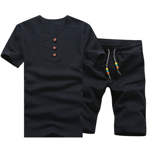 T Shirts + Shorts Men Light Breathable Beach Set