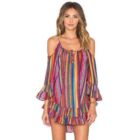 Women Summer Dress Rainbow Printing Striped Sexy Off Shoulder