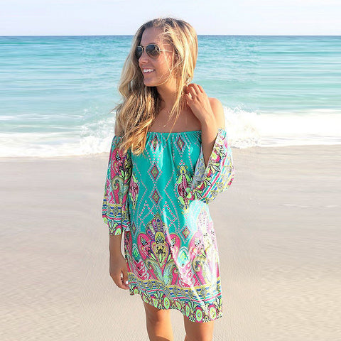 Beach Dress Plus Size Off Shoulder Bohemian – everythingparadise.com