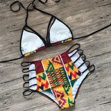 Sexy backless bikini African Print High Waist Bathing Suit