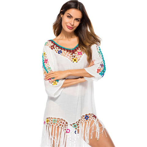 Indie Folk Beach Dress Hollow Tassel  Cotton Tunic