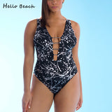HELLO BEACH Deep V Backless Plus Size Retro One Piece Swimsuit