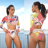 High Waist Floral Long Sleeve Ladies Contrast Color Bathing Suit