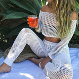 Hollow out swimsuit cover up off shoulder
