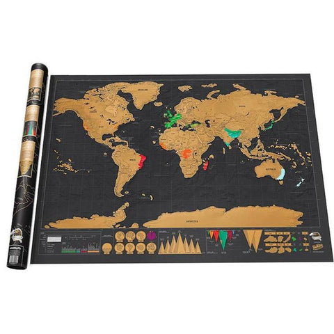 42x30cm Black Scratch off Art World Map Personalized