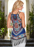 2016 Summer Print Vintage Dress Hippie Women Beach Dress  fringed