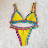 Brazilian Crochet Bikini Suit Multi-Color Triangle Swimsuit Knitted