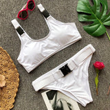 Sexy Scoop Neck Belted Bandage Push Up Bikini