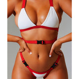 Bandeau swimsuit push up buckle swimwear