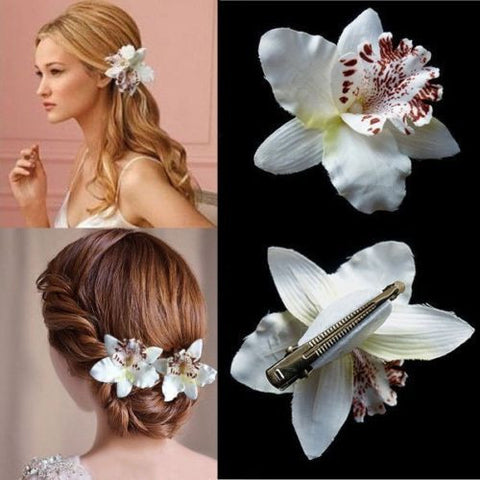 Bohemia Style Bridal Flower Orchid Leopard Hair Clip